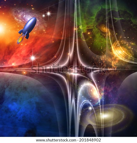 Retro Science Fiction Style Art Elements of this image furnished by NASA - stock photo