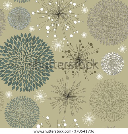 retro seamless pattern with abstract field flowers. Raster version - stock photo