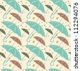 Retro seamless pattern with umbrellas. - stock vector
