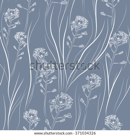 retro seamless pattern with wild field flowers. Raster version - stock photo