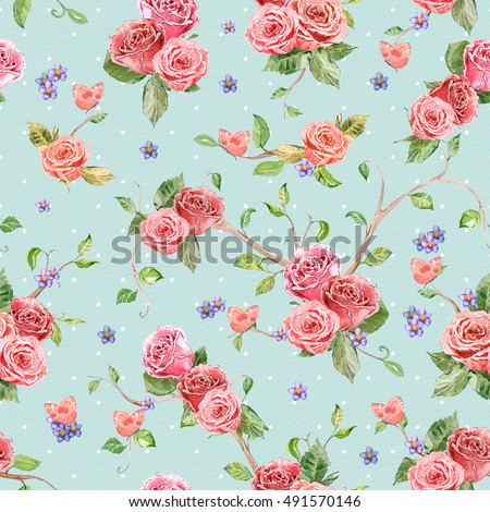 retro seamless texture with roses and butterflies. watercolor painting