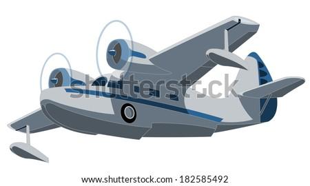 retro seaplane. Illustration clip art  - stock photo