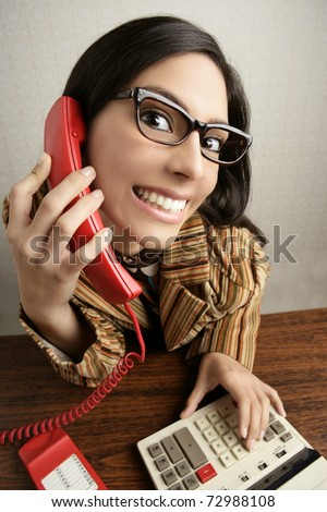 Retro secretary wide angle humor portrait talking telephone woman - stock photo
