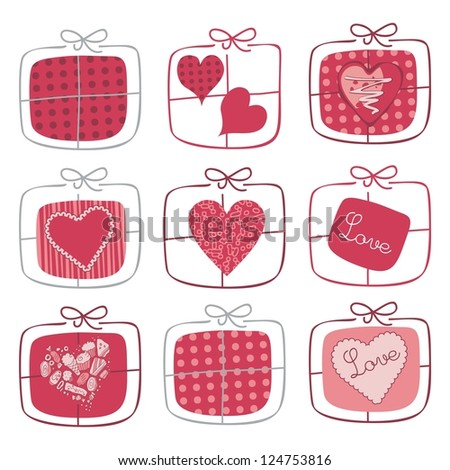 Retro set for Valentine Day with wrapped gifts - stock photo