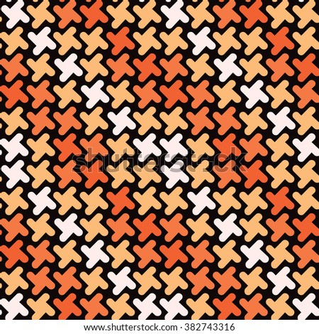 Retro Shapes Pattern in shades of orange repeats seamlessly. - stock photo