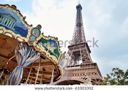 Retro shot of a merry-go-round, Paris, France - stock photo