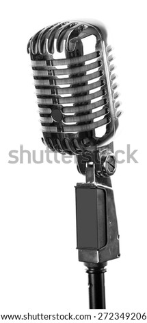 Retro silver microphone isolated on white - stock photo