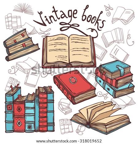 Retro sketch books decorative icons set library concept  illustration - stock photo