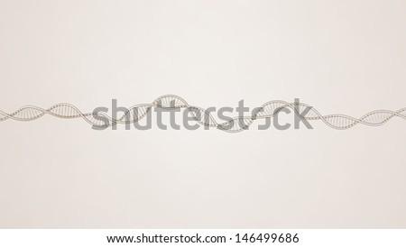retro sketch of DNA model on light brown gradient background, 3D rendering - stock photo