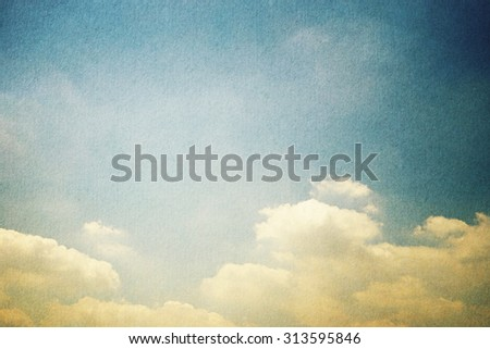 retro sky and cloud with grunge paper texture background