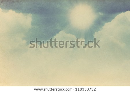Retro sky and sun background. - stock photo