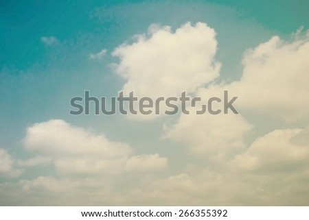 Retro sky with moving soft clouds   - stock photo