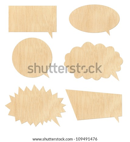 Retro speech bubbles from wood on white background