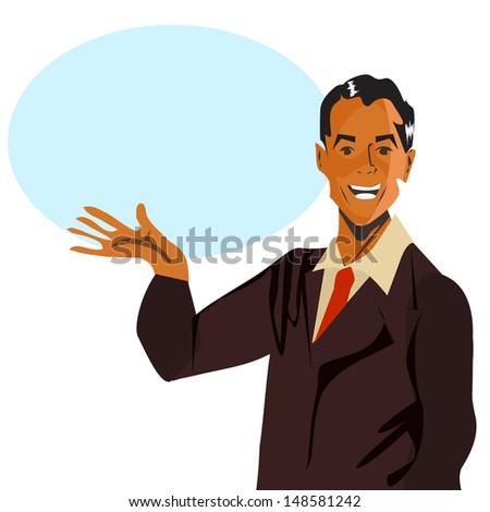 Retro speech man  - stock photo