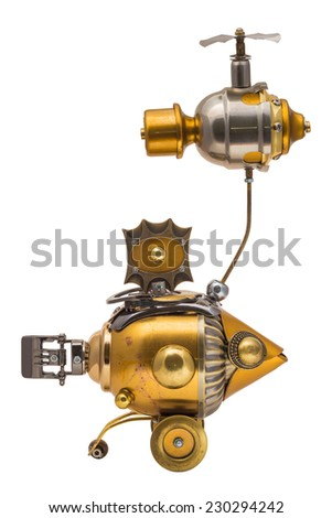 Retro steampunk fish. Bronze and chrome parts. - stock photo