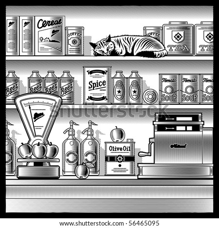 Retro store black and white - stock photo