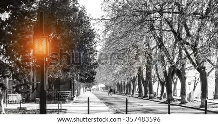 Retro street lamp shining - stock photo