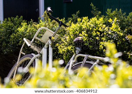 Retro style city bike parked in the bushes at sunny day. Theme of rest, activity, ecology, transport, Earth Day. - stock photo
