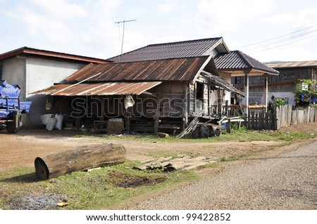 Retro Style Country Vintage Old House Thailand - stock photo