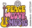 Retro-style design of Peace, Love and Music with peace symbol, heart, musical notes and guitar in pastel colors. - stock photo