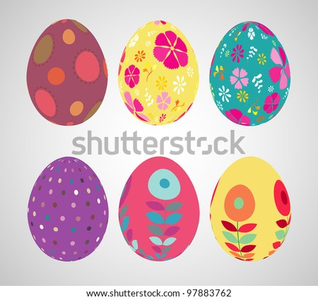 Retro style Easter eggs. - stock photo