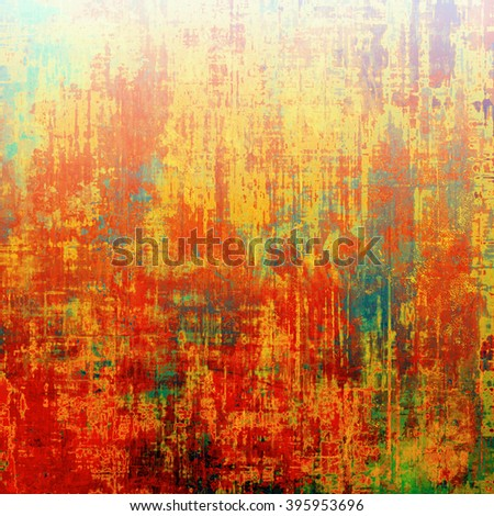 Retro style graphic composition on textured grunge background. With different color patterns: blue; green; yellow (beige); red (orange); pink - stock photo