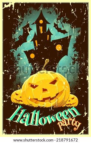 Retro Style Halloween Poster - stock photo