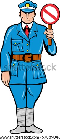 retro style illustration of a policeman or police officer with stop sign standing front view