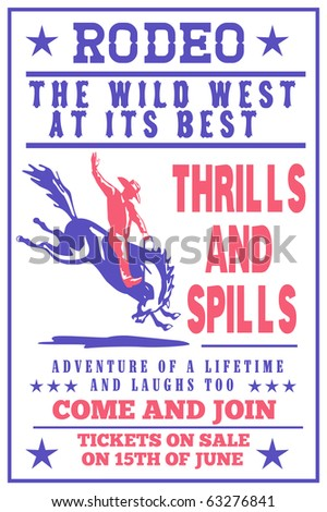 """retro style illustration of a Poster showing an American  Rodeo Cowboy riding  a bucking bronco horse jumping viewed from side with words """"Annual Benefit Rodeo the wild west at its best"""" - stock photo"""