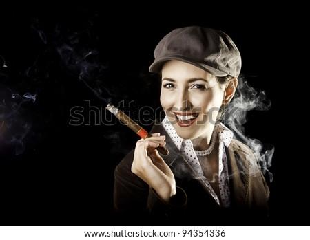 Retro style lady smoking cigar - stock photo