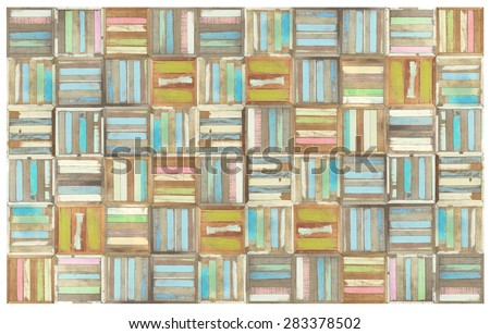 Retro style mosaic wood pattern orbackground - stock photo