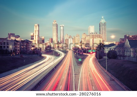 Retro style photo of Atlanta skyline, Georgia, USA - stock photo