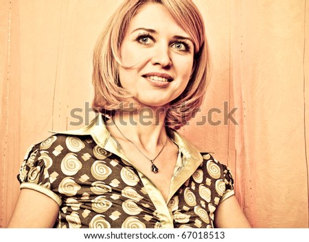 Retro style Portrait of a fresh and lovely woman face closeup - stock photo