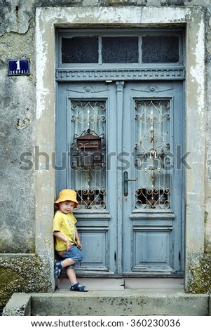 Retro style portrait of a young child - stock photo