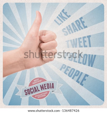 Retro style poster with hand showing thumb up gesture surrounded with keywords on social media theme - stock photo