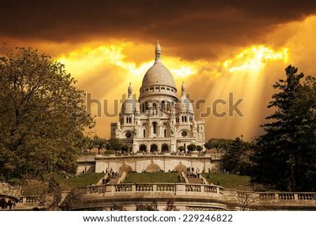 Retro style - Sacre Coeur in Paris France. - stock photo