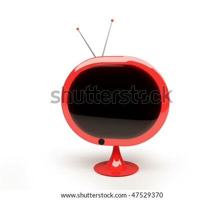 Retro style TV isolated on white space - stock photo