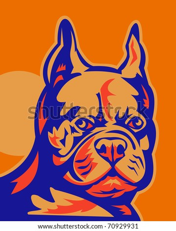 "retro style vector illustration of a French Bulldog portrait looking to front. The dogs are commonly called the Frenchie and are nicknamed ""clowns"" and ""frog dogs""."