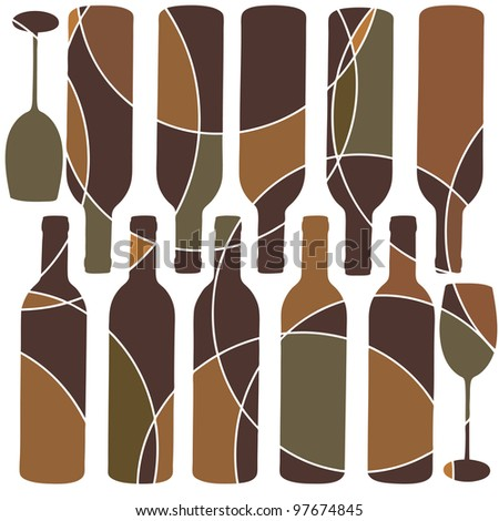 Retro style wine glass background - stock photo