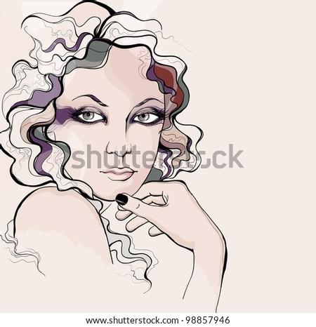 Retro style woman portrait - stock photo
