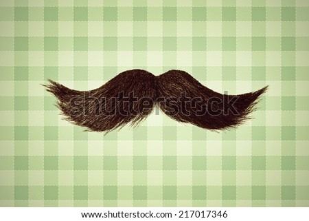 Retro styled image of a black curly moustache in front of green wallpaper - stock photo