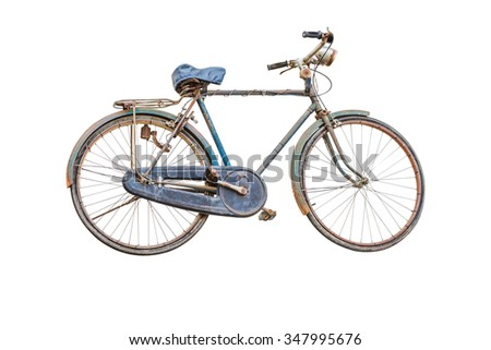Retro styled image of a nineteenth century bicycle isolated on a white background with clipping path. - stock photo