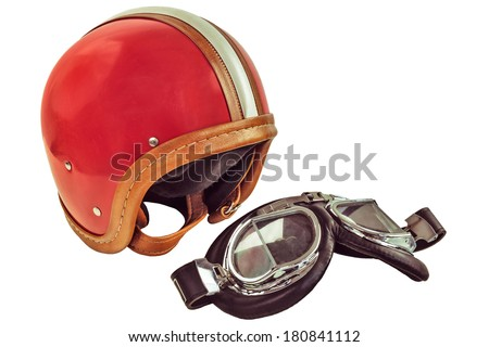 Retro styled image of an old motor helmet with goggles isolated on a white background - stock photo
