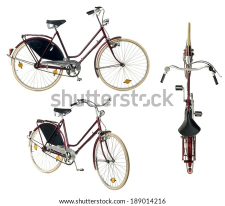 Retro styled male bicycle of a nineteenth century isolated on a white background from three different view.