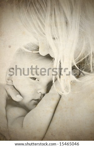 retro-styled portrait of mother and baby - stock photo