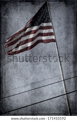 Retro-styled postcard of midtown Manhattan with an American flag - stock photo