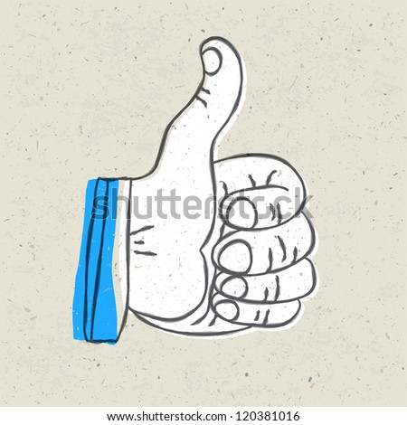 Retro styled thumb up symbol. Raster version, vector file available in portfolio. - stock photo
