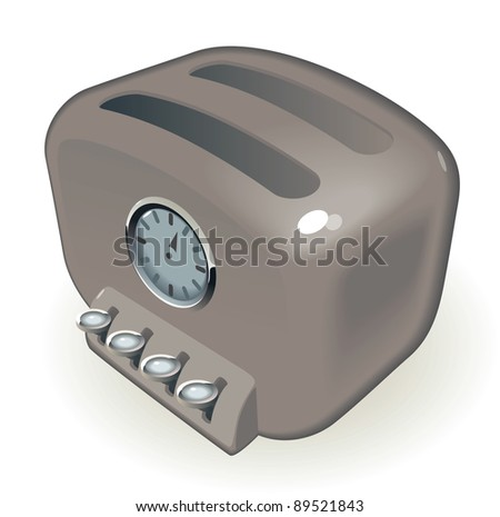 Retro-styled toaster with timer. Raster version. Vector version is also available.