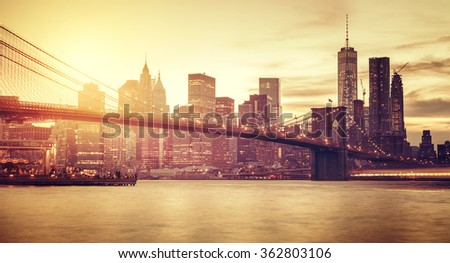 Retro stylized Manhattan at sunset, New York, USA. - stock photo