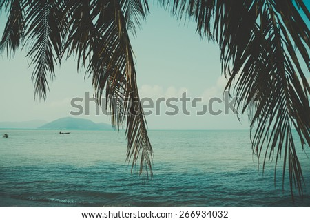 Retro stylized palm leaf and tropical beach - stock photo